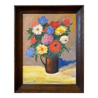 1990s Folk Art Floral Still Life Oil Painting, Framed For Sale
