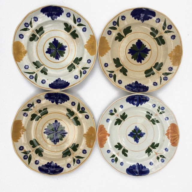 Ceramic Antique Adams & Sons Hand-Painted Garden Floral Luncheon Plates - Set of 10 For Sale - Image 7 of 13