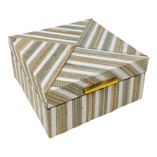Square Indonesian Natural Fiber Woven Box With Brass Closure For Sale