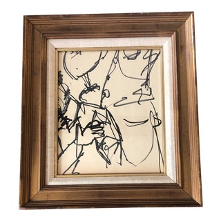 Original Vintage Ink Wash Abstract Painting For Sale