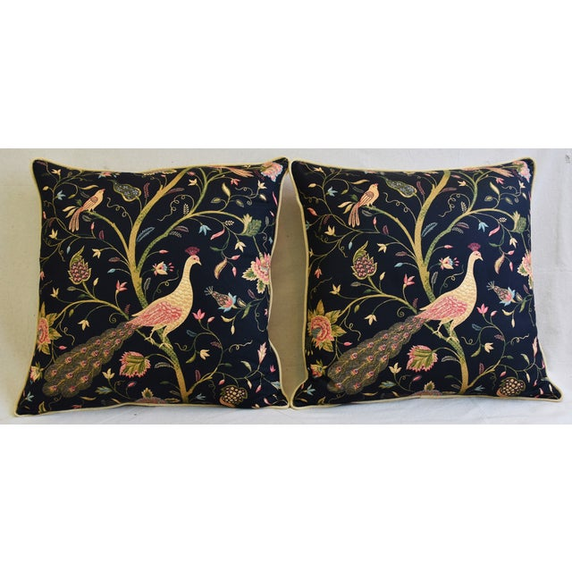 """Chinoiserie Peacock & Floral Asian Feather/Down Pillows 24""""- Pair - Image 2 of 13"""