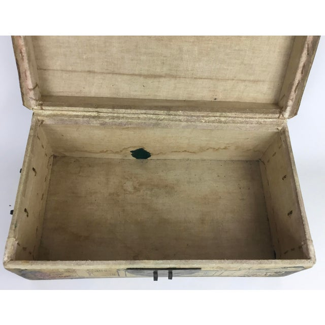 19th C. Asian Hand Painted Hide Box For Sale - Image 10 of 12