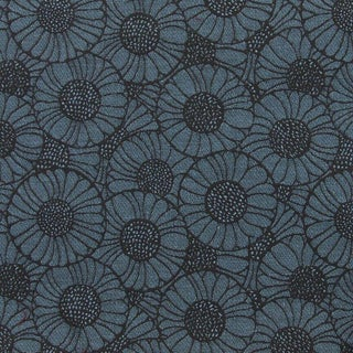 Mid-Century Modern Maharam Orakelblume in Danube Blue Floral Upholstery Fabric - 4 & 3/8th Yds For Sale