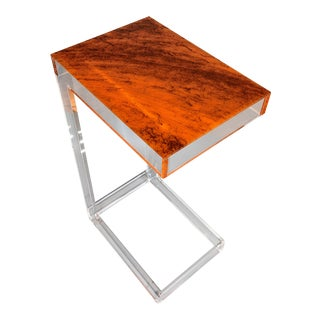 Art Deco Orange Tortoiseshell Lucite Side Table For Sale