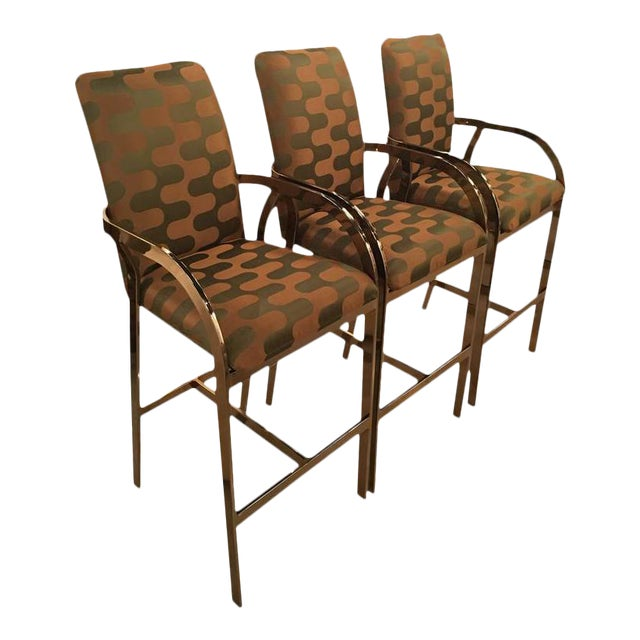 Vintage Hollywood Regency DIA Upholstered Brass Gold Arm Bar Stools - Set of 3 For Sale