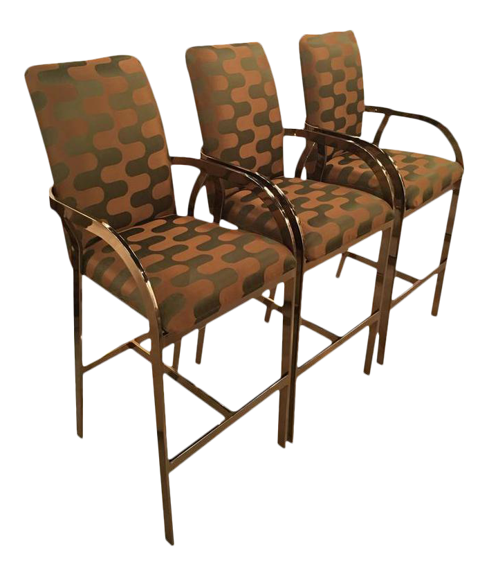 Vintage Hollywood Regency DIA Upholstered Brass Gold Arm Bar Stools   Set  Of 3