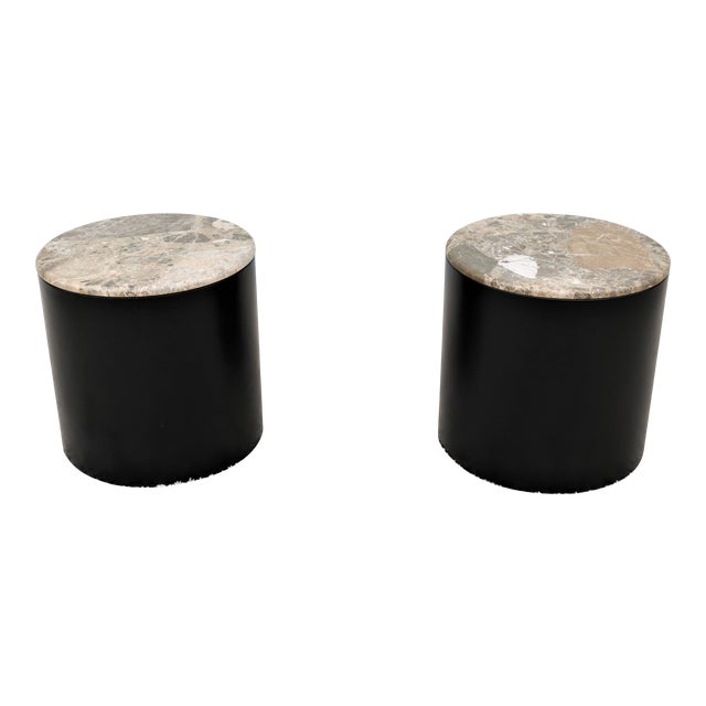 Mid Century Modern Paul Mayen Style Brown Marble Top Drum Side Tables - a Pair For Sale