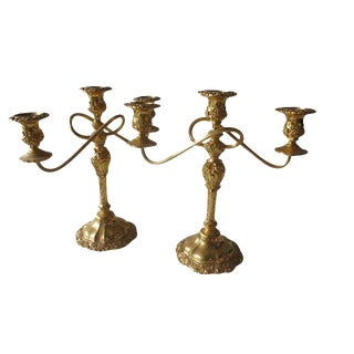 Vintage 3-Arm, Gold-Plated Candelabrum - a Pair For Sale