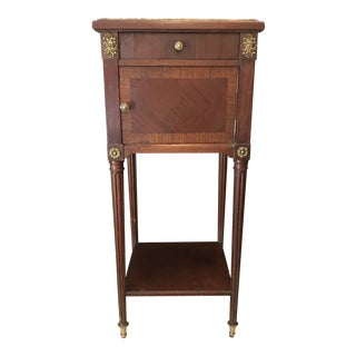 French Louis XVI Nightstand or Side Table With Carrera Marble Top For Sale