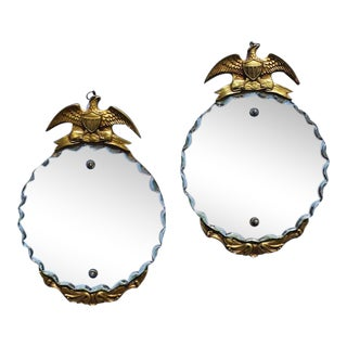 1930s Art Deco Vintage Gold Wood Admiral Eagle Mirrors-A Pair For Sale