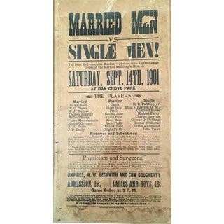 Rare Baseball Game Broadside, Married Versus Single Men, circa 1901