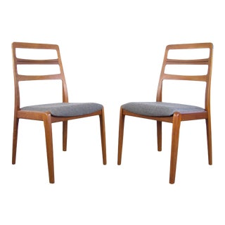 Danish Teak Ladder Back Dining Chairs - a Pair For Sale
