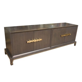 Tommi Parzinger Attributed Mid Century Solid Wood and Brass Cabinet For Sale
