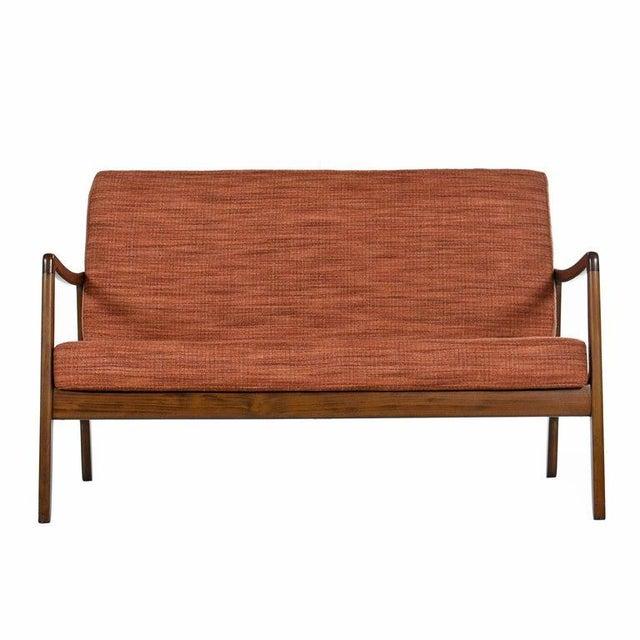 Danish Modern Danish Loveseat Settee Sofa by Ole Wanscher for France & Daverkosen For Sale - Image 3 of 9