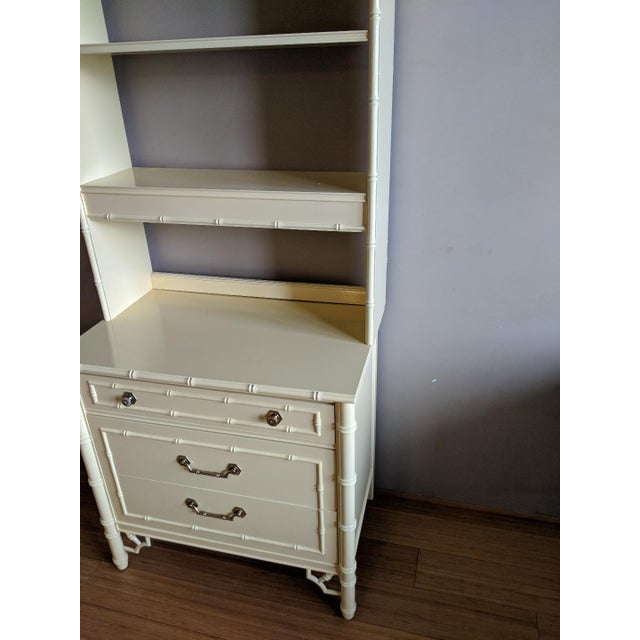 Thomasville High Gloss Saffron Faux Bamboo 2 Pc. Bookcase and Three Drawer Chest Set For Sale In Phoenix - Image 6 of 10