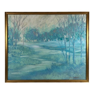 Monochrome Sky Blue Landscape Trees Along River Oil Painting on Canvas Signed Nishaus For Sale