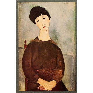 1940s Amedeo Modigliani, Seated Girl With Brown Hair Swiss Lithograph For Sale