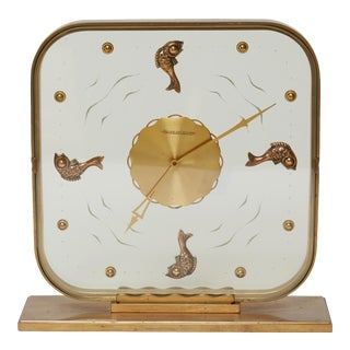1950s Hollywood Regency Jaeger LeCoultre Fish Clock For Sale