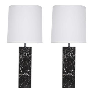 Nessen Studio Black Marble Table Lamps - a Pair For Sale