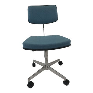 Vintage Mid Century Modern Blue Upholstered Chrome Office Chair by Labofa For Sale