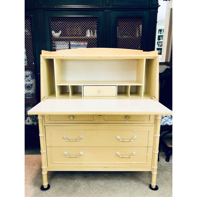 Thomasville chinese chippendale style faux bamboo secretary desk. All original! Original hardware and finish. Finish is...