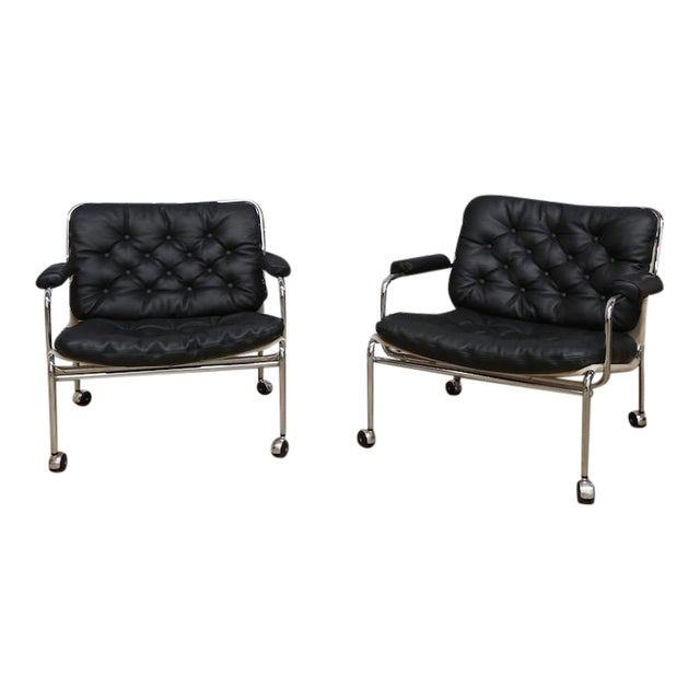Bruno Mathsson Style Easy Chairs - a Pair - Image 1 of 5