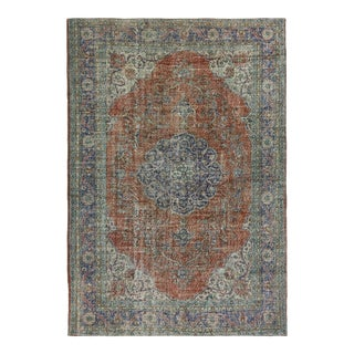 Distressed Classic Medallion Carpet | 7'5 X 11 For Sale