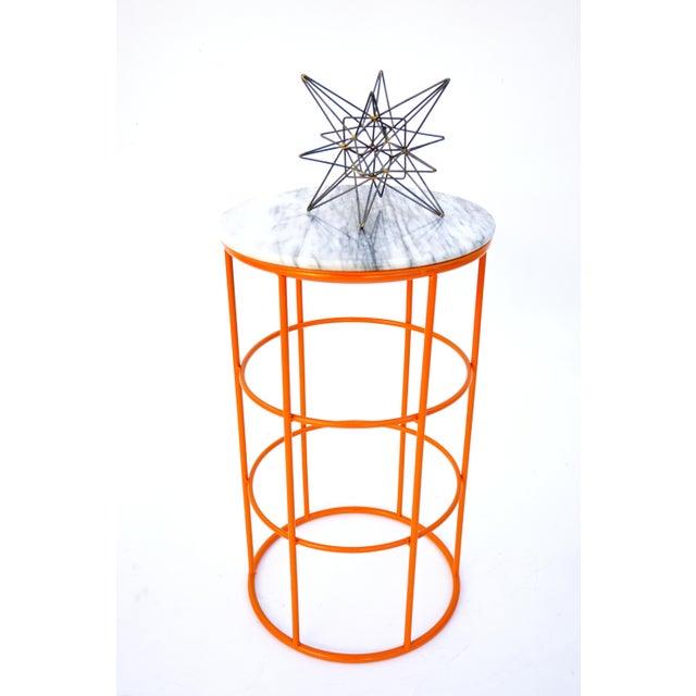 Carrara Marble & Orange Metal Fern Stand Pedestal Table - Image 11 of 11
