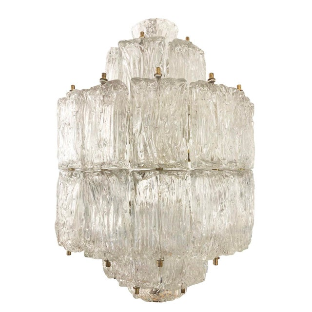 American Barovier and Toso Textured Glass Chandelier, Italy, 1950's For Sale - Image 3 of 8