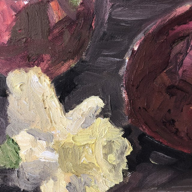 This beautifully painted original oil on canvas is circa the 1990's and features a wonderful still life a tea kettle,...