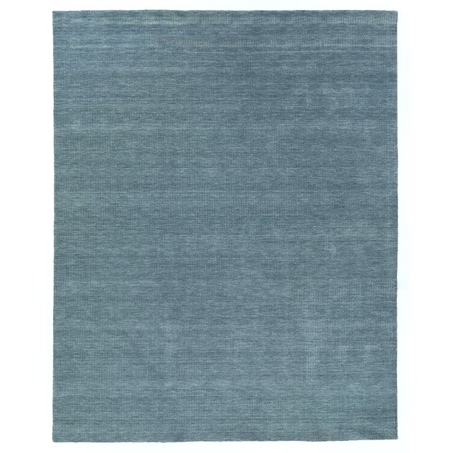 Blue Exquisite Rugs Worcester Handwoven Wool Denim Blue - 6'x9' For Sale - Image 8 of 8