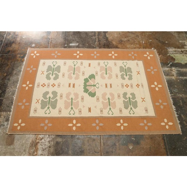 Butterfly Dhurrie Handoven Wool Rug - 5′7″ × 8′5″ - Image 2 of 6