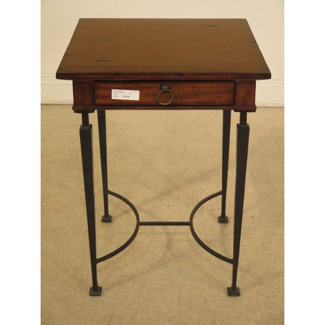 Gold 1990s Rustic Labarge Mahogany Top 1 Drawer Table For Sale - Image 8 of 8