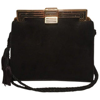 Judith Leiber Black Suede Evening Bag Clutch With Silk Tassel For Sale