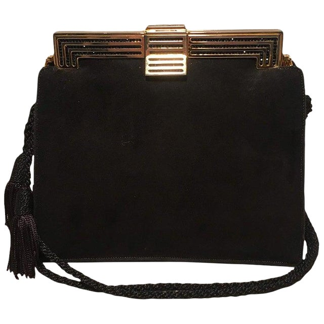 Judith Leiber Black Suede Evening Bag Clutch With Silk Tassel For Sale