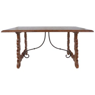 Rustic Oak Trestle Table With Iron Stretcher For Sale