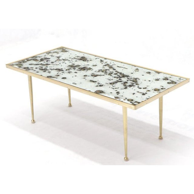 Metal Small Italian Rectangular Coffee Table on Brass Legs Mirrored Top For Sale - Image 7 of 10
