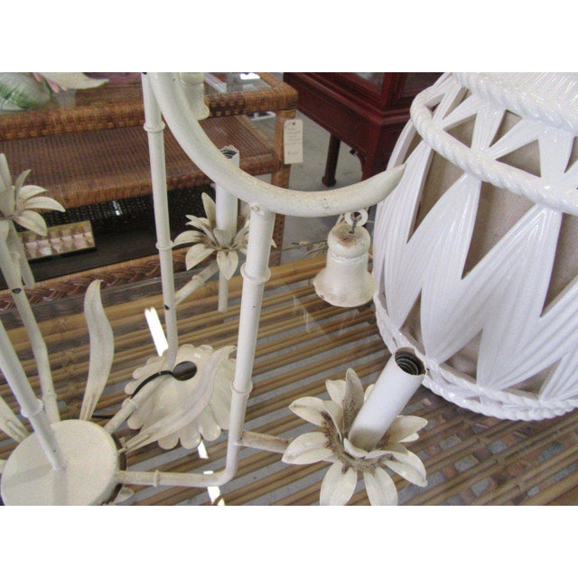 Palm Beach Faux Bamboo Chandelier For Sale - Image 4 of 7