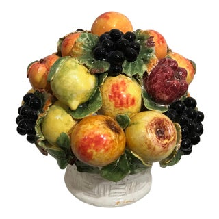 Mid-Century Italian Signed Majolica Ceramic Fruit Basket Centerpiece For Sale