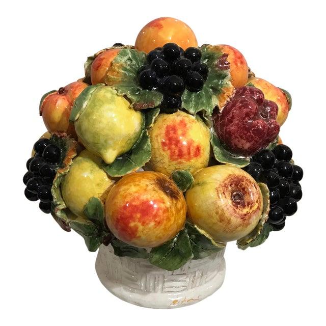 Mid-Century Large Italian Majolica Ceramic Fruit Centerpiece For Sale