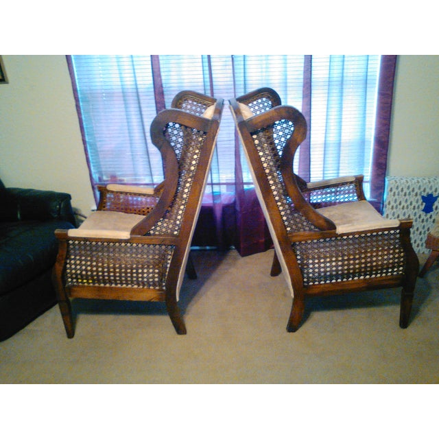 Lewittes High Wingback Chairs, Cane Sides - Pair - Image 3 of 11