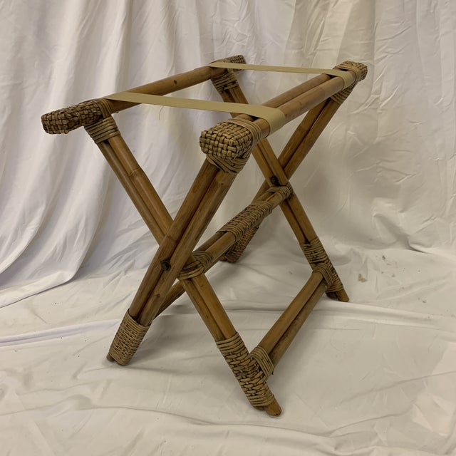Vintage Burnt Bamboo Luggage Rack Tray Stand For Sale - Image 9 of 9