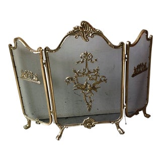 Vintage French Provincial Folding Cast Brass Fireplace Screen For Sale