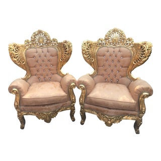 1940s Italian Rococo Gold Leaf Wingback Chairs - a Pair For Sale