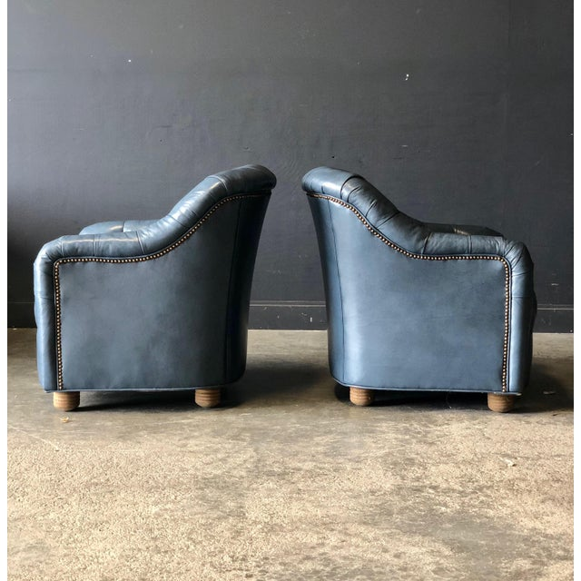 1960s A Pair of Blue Leather Club Chairs For Sale - Image 5 of 9