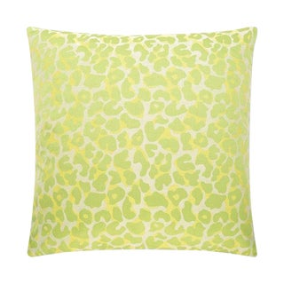 Lime & Yellow Textured Leopard Pillow For Sale
