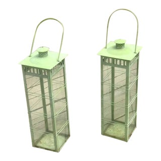 1970s Vintage Verdigris Candle Lanterns - a Pair For Sale