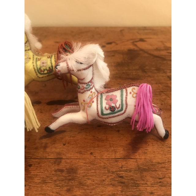 Textile 1970s Children's Embroidered Satin Horse Christmas Ornaments - Set of 5 For Sale - Image 7 of 10