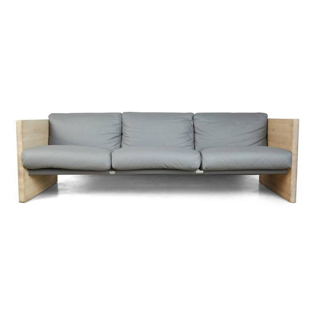 Milo Baughman Style Gray Leather and Oak Sling Sofa, Circa 1970 - Image 5 of 7