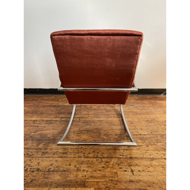 Mid Century Chrome Rocking Chair in Rust Velvet For Sale In New York - Image 6 of 8